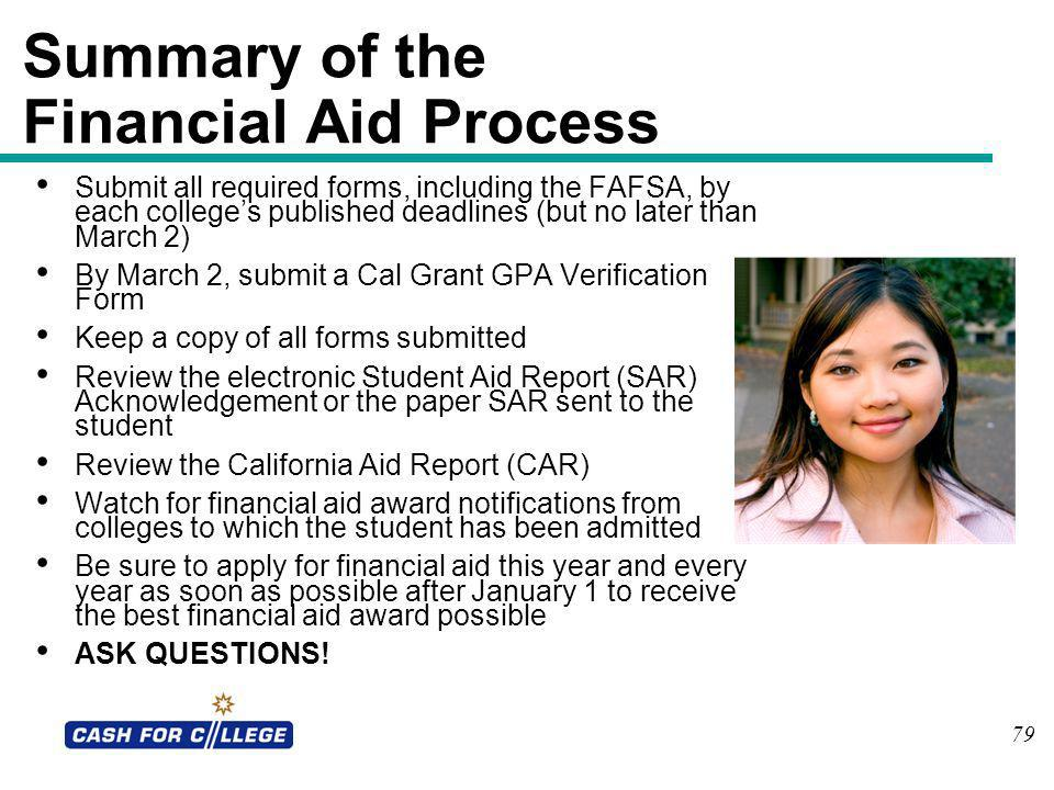Summary of the Financial Aid Process