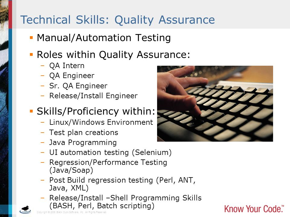 Technical Skills: Quality Assurance