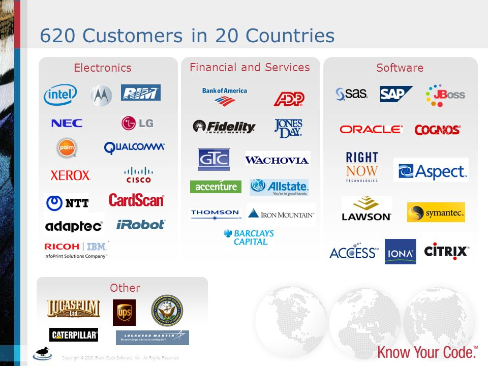 620 Customers in 20 Countries