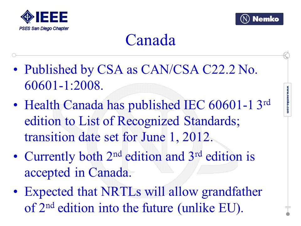 Canada Published by CSA as CAN/CSA C22.2 No. 60601-1:2008.