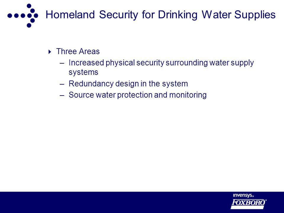Homeland Security for Drinking Water Supplies