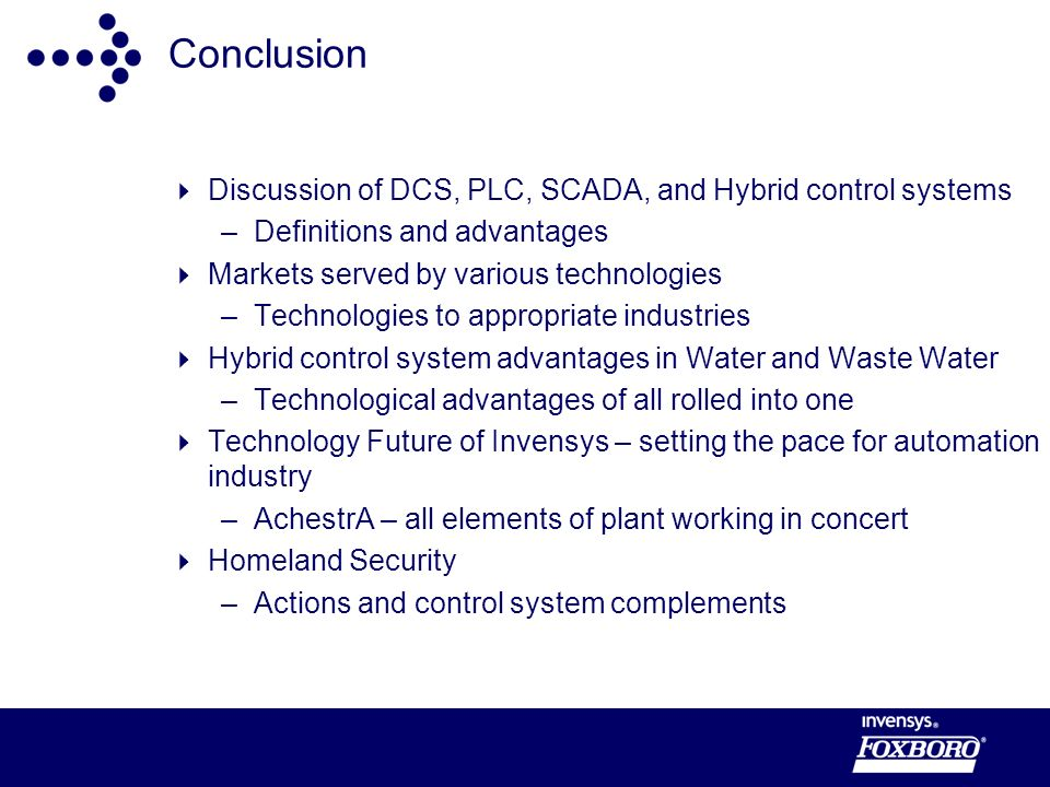 Conclusion Discussion of DCS, PLC, SCADA, and Hybrid control systems