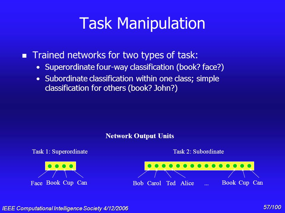 Task Manipulation Trained networks for two types of task: