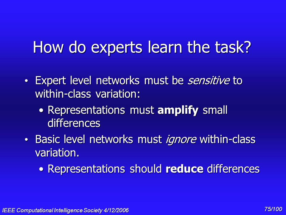 How do experts learn the task