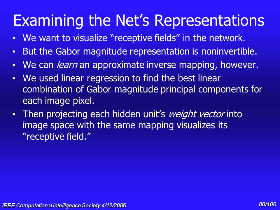 Examining the Net's Representations