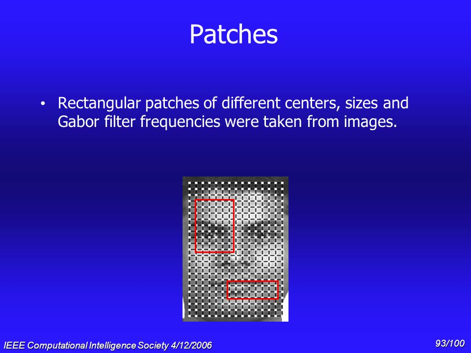 Gary Cottrell & * 07/16/96. Patches. Rectangular patches of different centers, sizes and Gabor filter frequencies were taken from images.