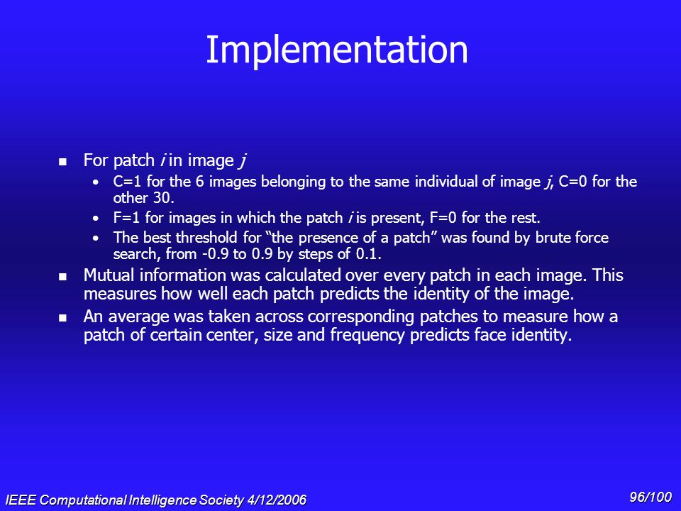 Implementation For patch i in image j