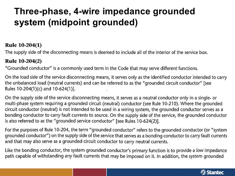 Three-phase, 4-wire impedance grounded system (midpoint grounded)