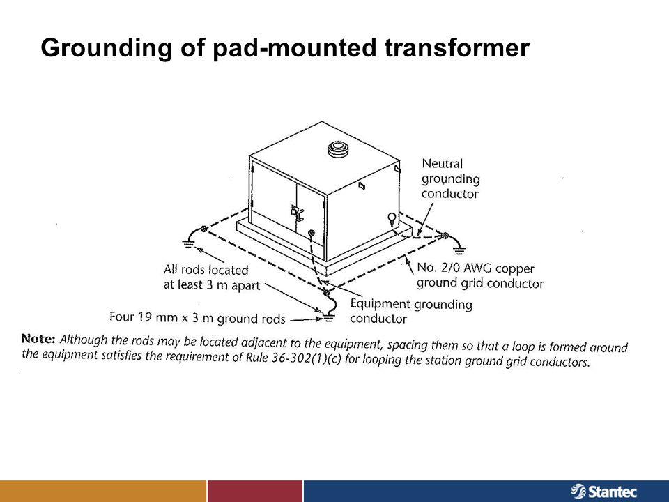 Grounding of pad-mounted transformer