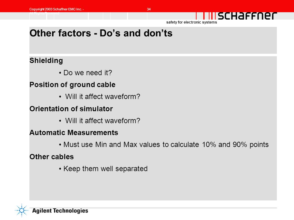 Other factors - Do's and don'ts