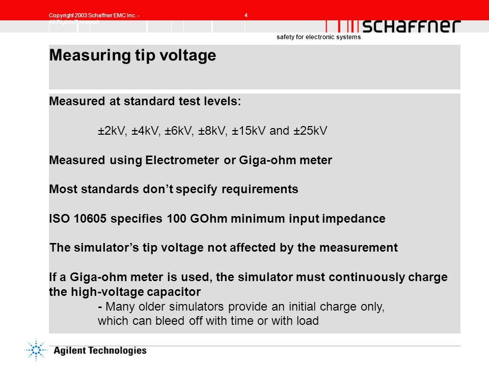 Measuring tip voltage Measured at standard test levels: