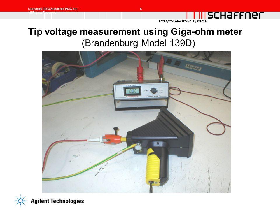 Tip voltage measurement using Giga-ohm meter (Brandenburg Model 139D)