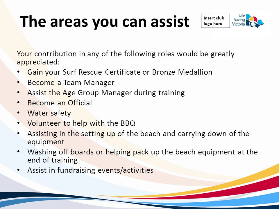 The areas you can assist