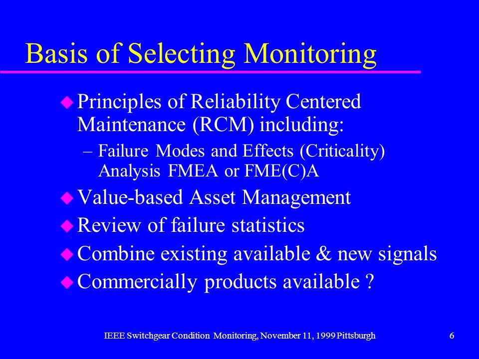 Basis of Selecting Monitoring