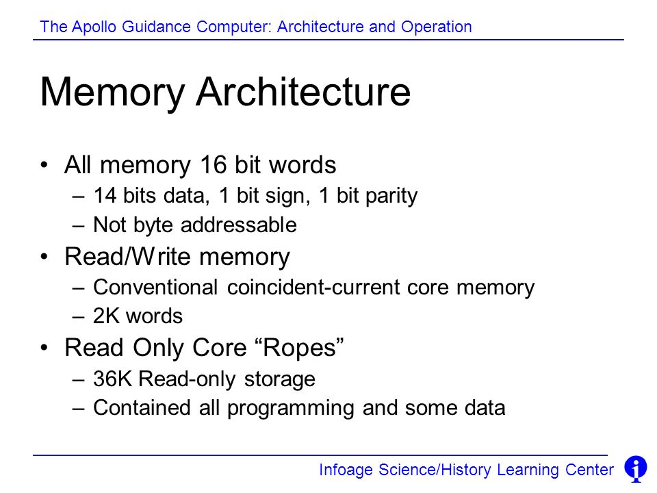 Memory Architecture All memory 16 bit words Read/Write memory
