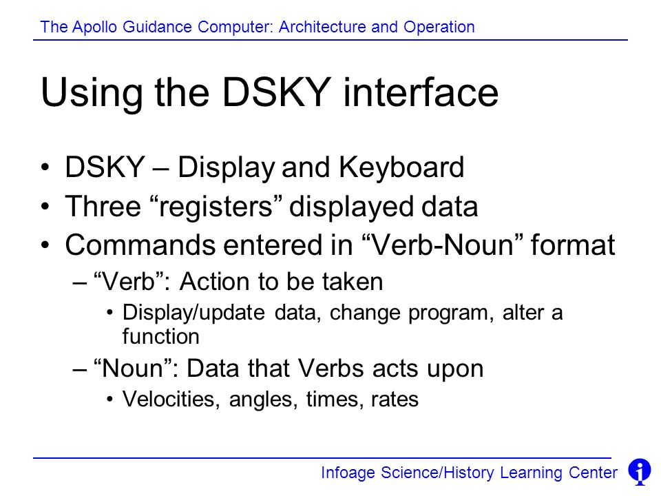Using the DSKY interface