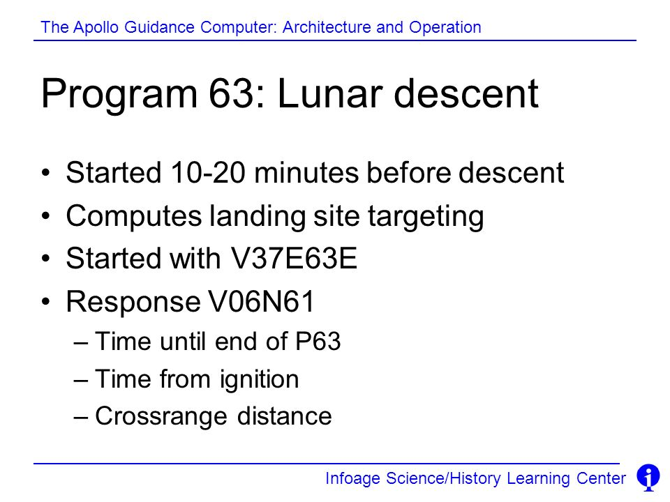 Program 63: Lunar descent