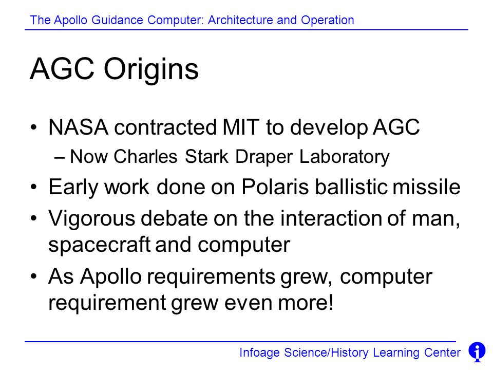 AGC Origins NASA contracted MIT to develop AGC