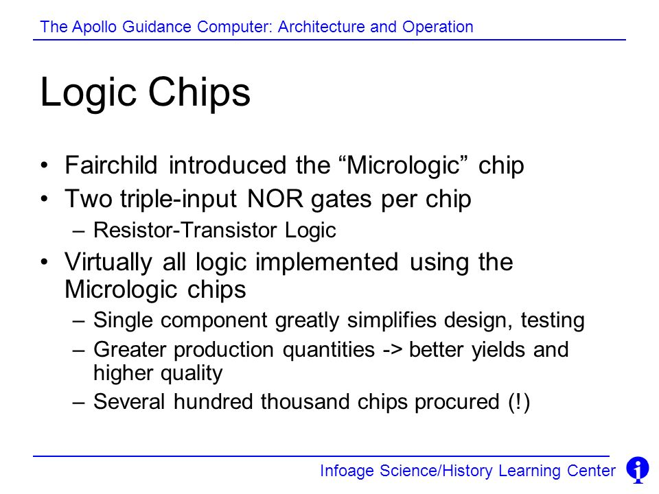 Logic Chips Fairchild introduced the Micrologic chip