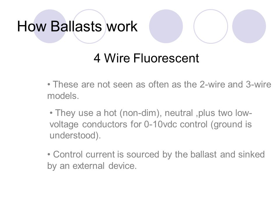 How Ballasts work 4 Wire Fluorescent