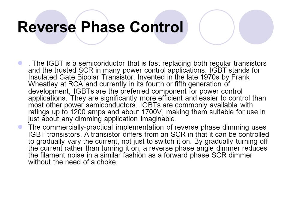Reverse Phase Control