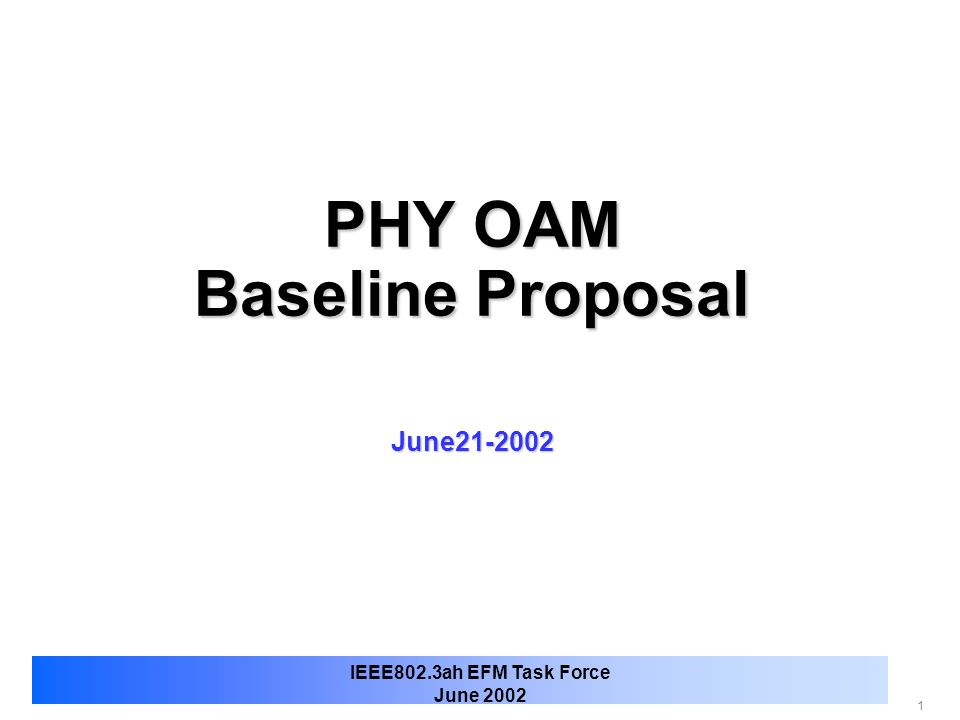 PHY OAM Baseline Proposal June21-2002