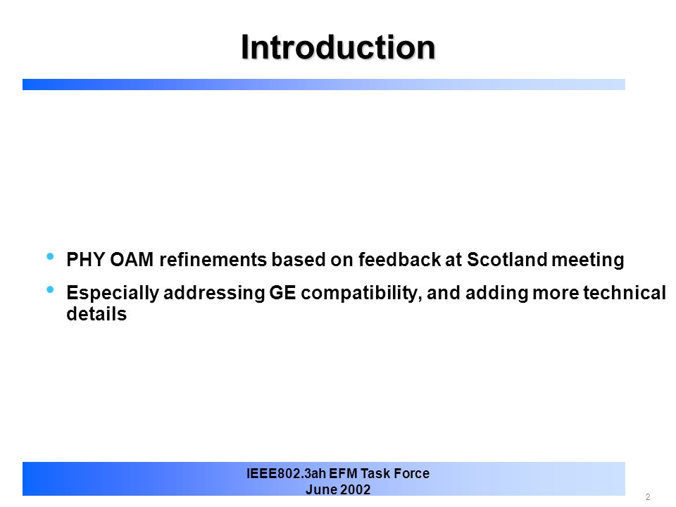 Introduction PHY OAM refinements based on feedback at Scotland meeting