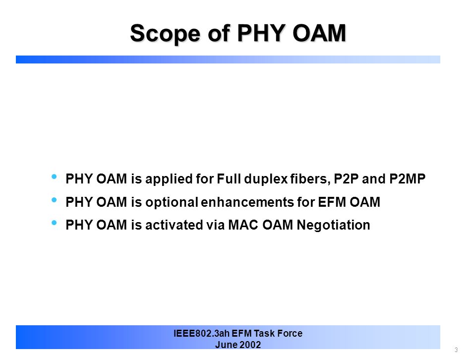 Scope of PHY OAM PHY OAM is applied for Full duplex fibers, P2P and P2MP. PHY OAM is optional enhancements for EFM OAM.