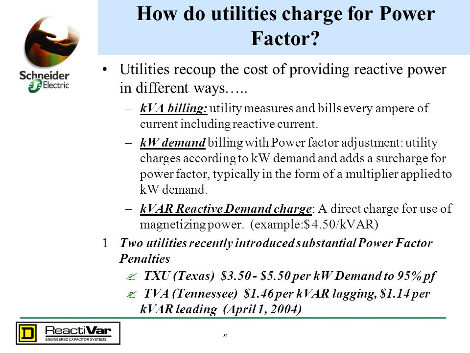 How do utilities charge for Power Factor