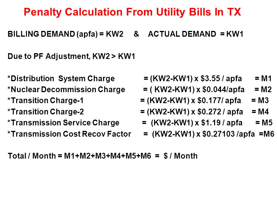 Penalty Calculation From Utility Bills In TX