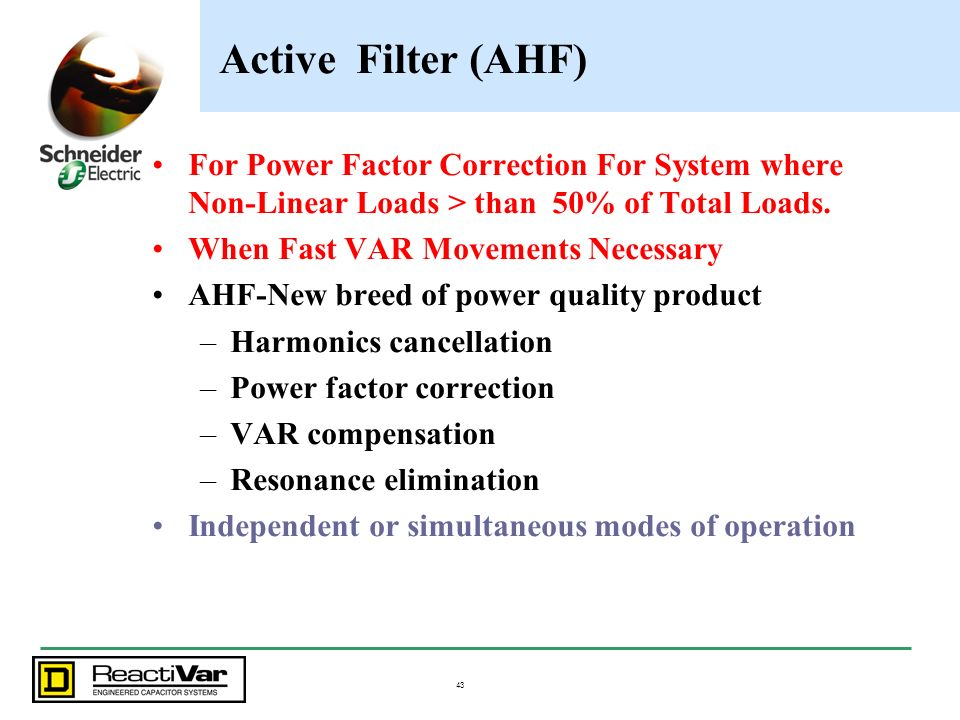 Active Filter (AHF) For Power Factor Correction For System where Non-Linear Loads > than 50% of Total Loads.