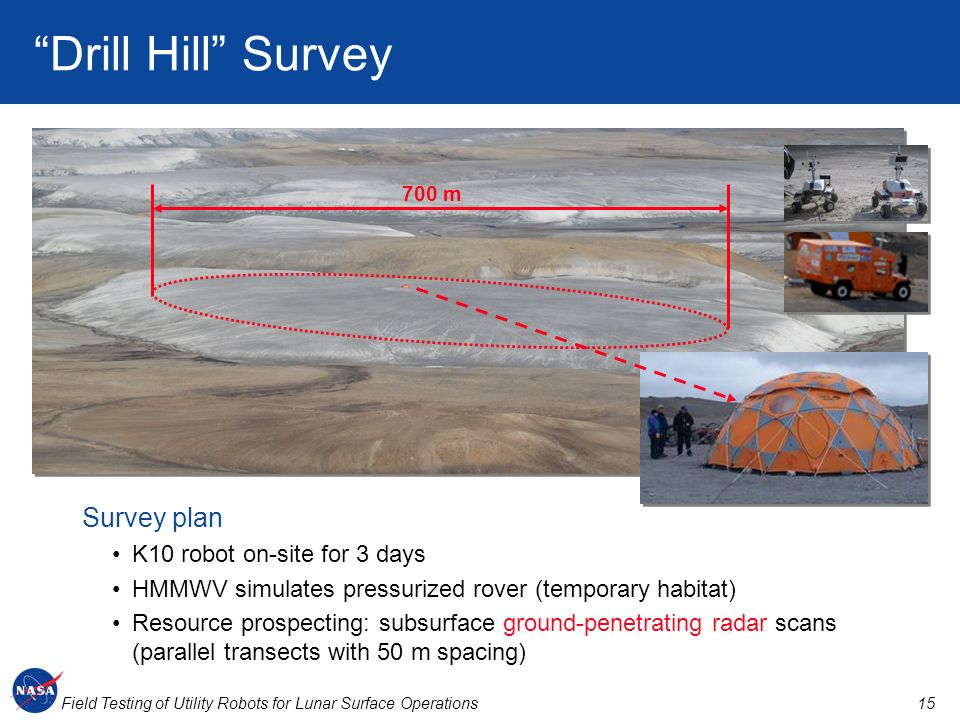 Drill Hill Survey 700 m Survey plan K10 robot on-site for 3 days