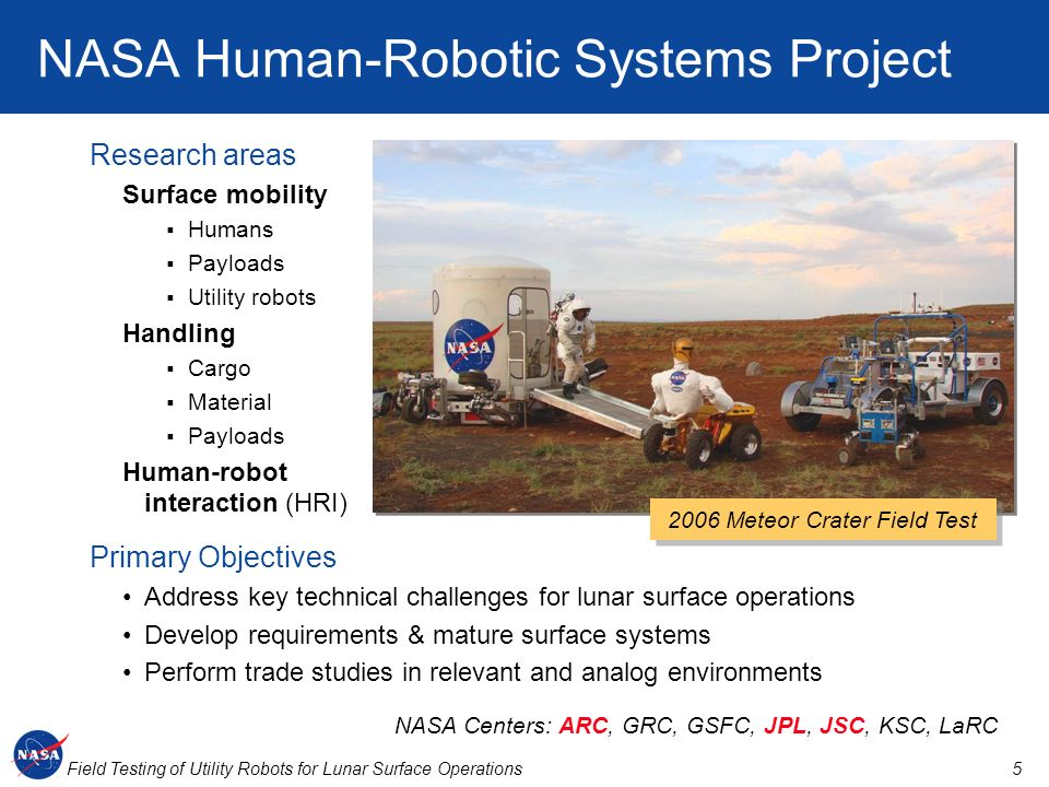 NASA Human-Robotic Systems Project
