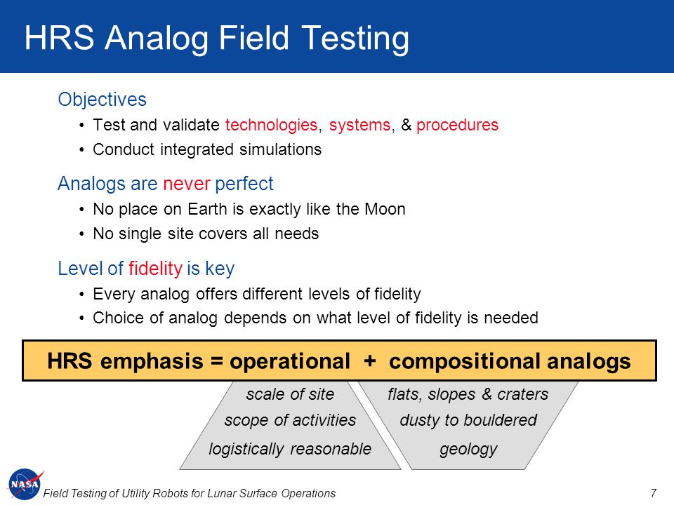 HRS Analog Field Testing