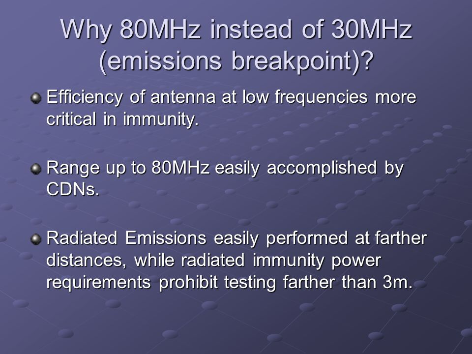 Why 80MHz instead of 30MHz (emissions breakpoint)