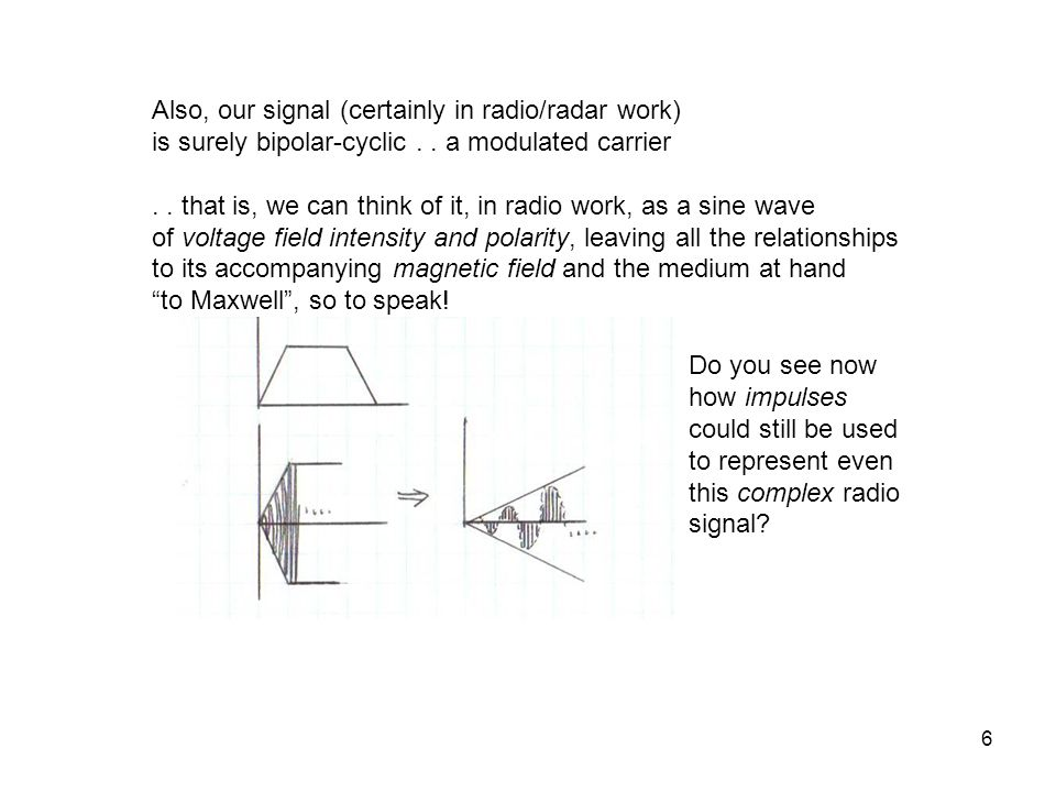 Also, our signal (certainly in radio/radar work)