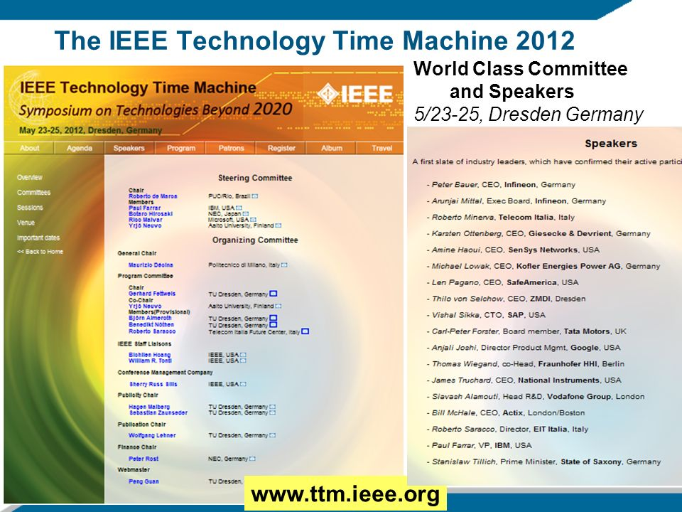 The IEEE Technology Time Machine 2012