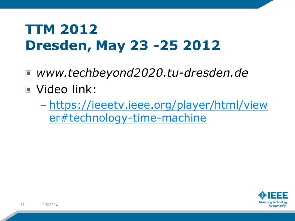 TTM 2012 Dresden, May 23 -25 2012 www.techbeyond2020.tu-dresden.de