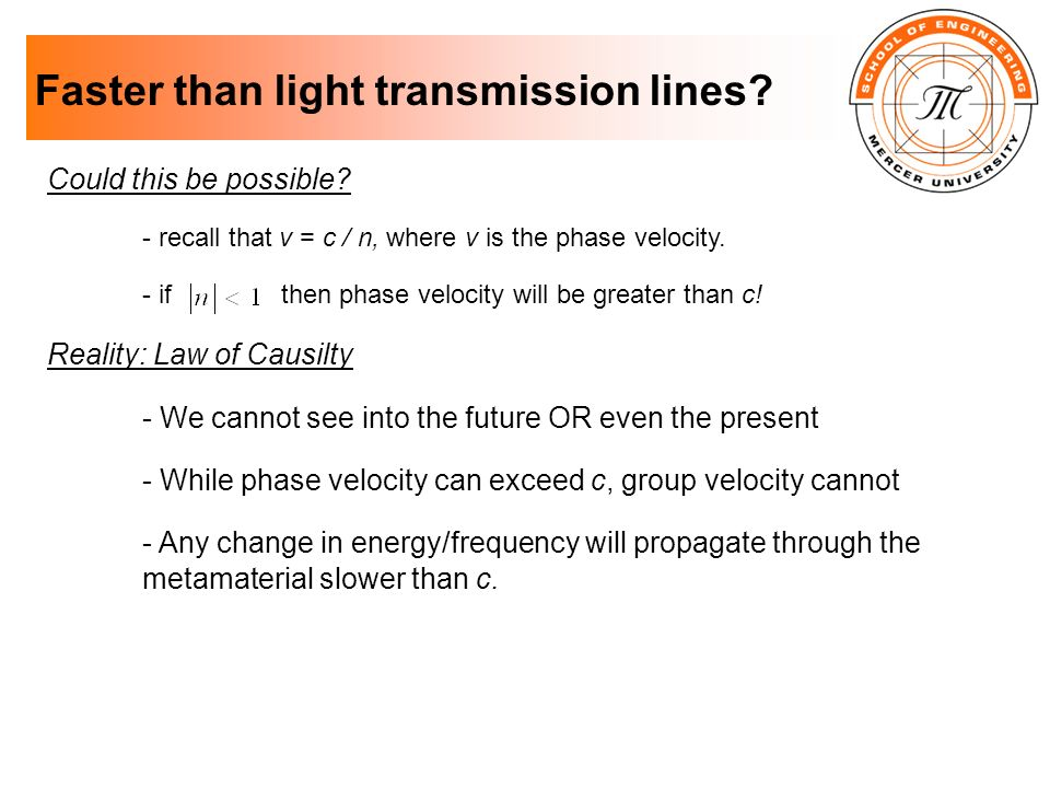 Faster than light transmission lines