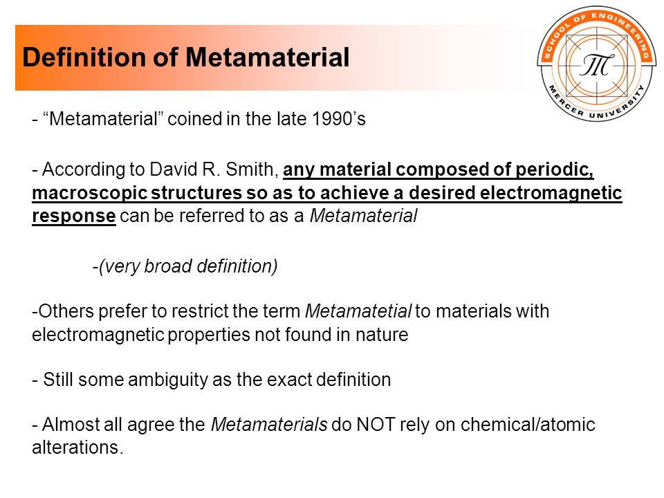 Definition of Metamaterial