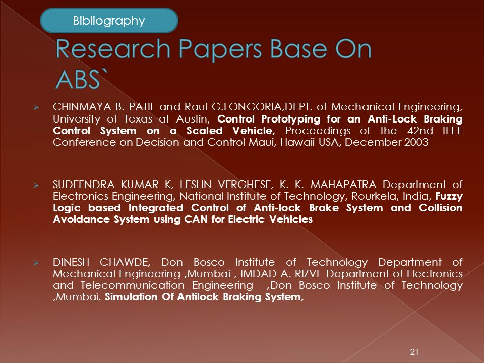 Mechanical Research Papers