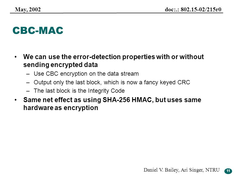 CBC-MAC We can use the error-detection properties with or without sending encrypted data. Use CBC encryption on the data stream.