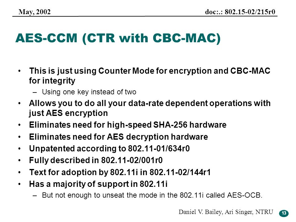 AES-CCM (CTR with CBC-MAC)