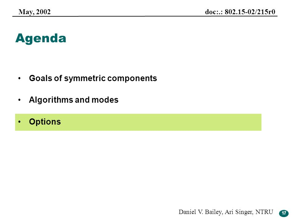 Agenda Goals of symmetric components Algorithms and modes Options