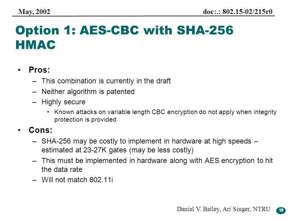 Option 1: AES-CBC with SHA-256 HMAC