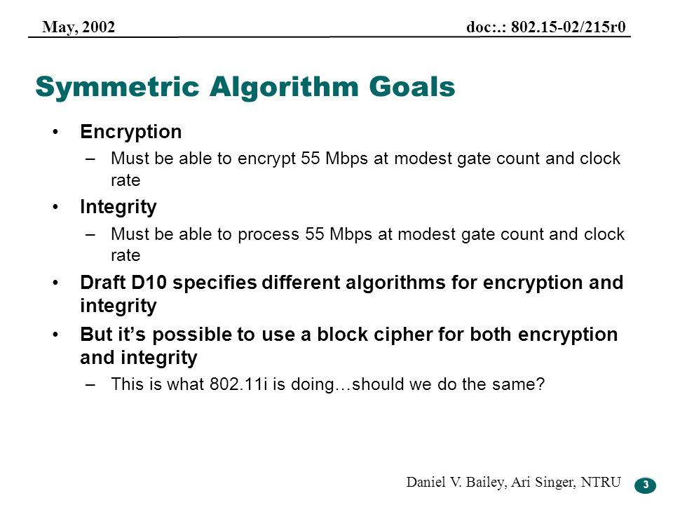 Symmetric Algorithm Goals