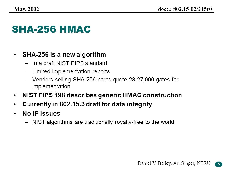 SHA-256 HMAC SHA-256 is a new algorithm