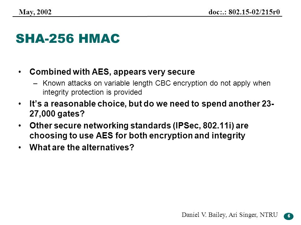 SHA-256 HMAC Combined with AES, appears very secure