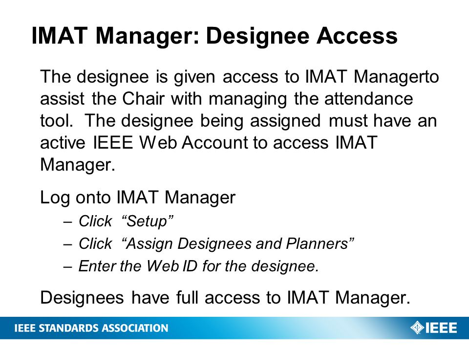 IMAT Manager: Designee Access