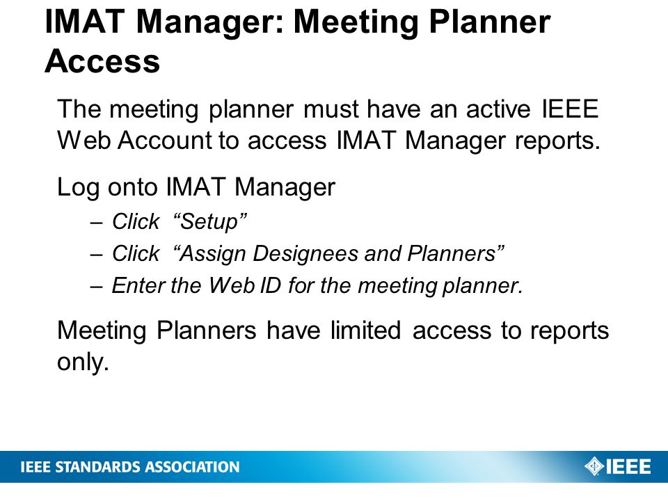 IMAT Manager: Meeting Planner Access